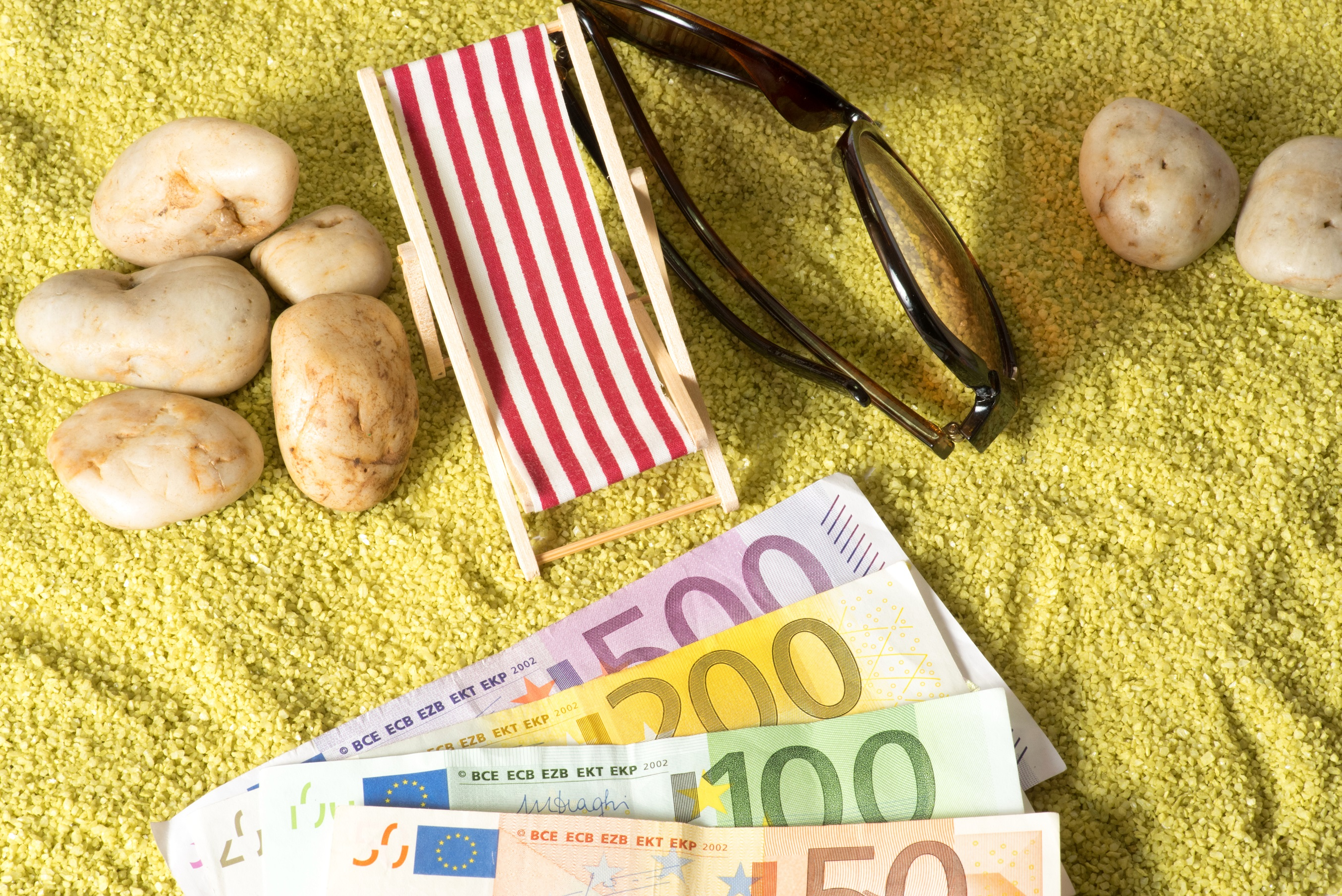 Holiday money on the beach